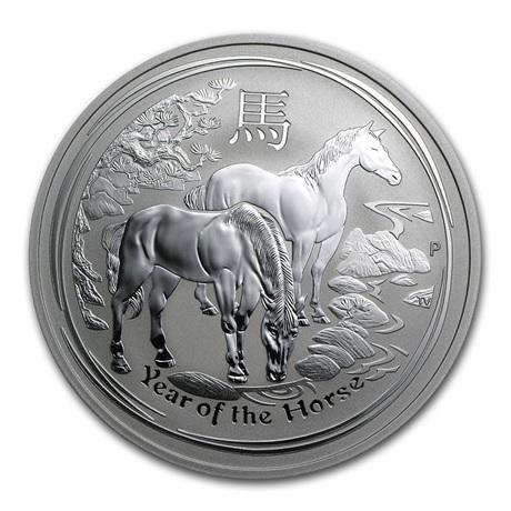(W017.200.2014.2.oz.Ag.1) 2 Dollars Australie 2014 2 onces argent BU - Année du Cheval Revers