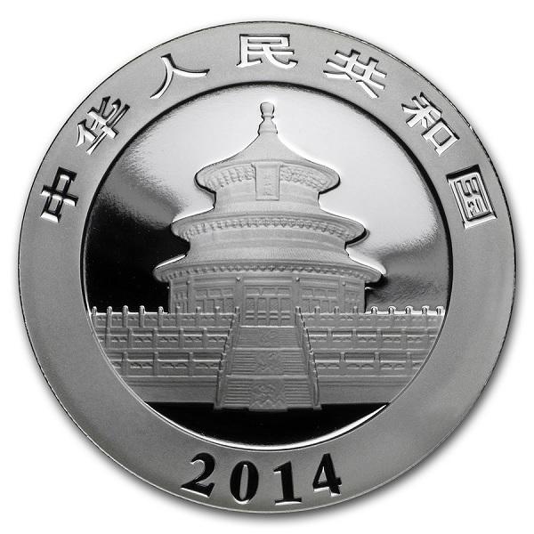 (W041.1000.2014.1.oz.Ag.1) 10 Yuan China 2014 1 oz BU silver - Panda Obverse (zoom)