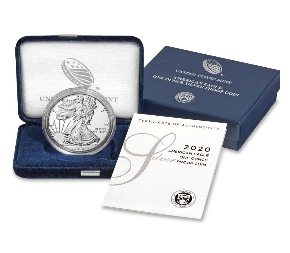(W071.100.2020_W.1.ag.BE.bullco.1) 1 Dollar USA 2020 W 1 oz Proof Ag - American eagle (case) (zoom)