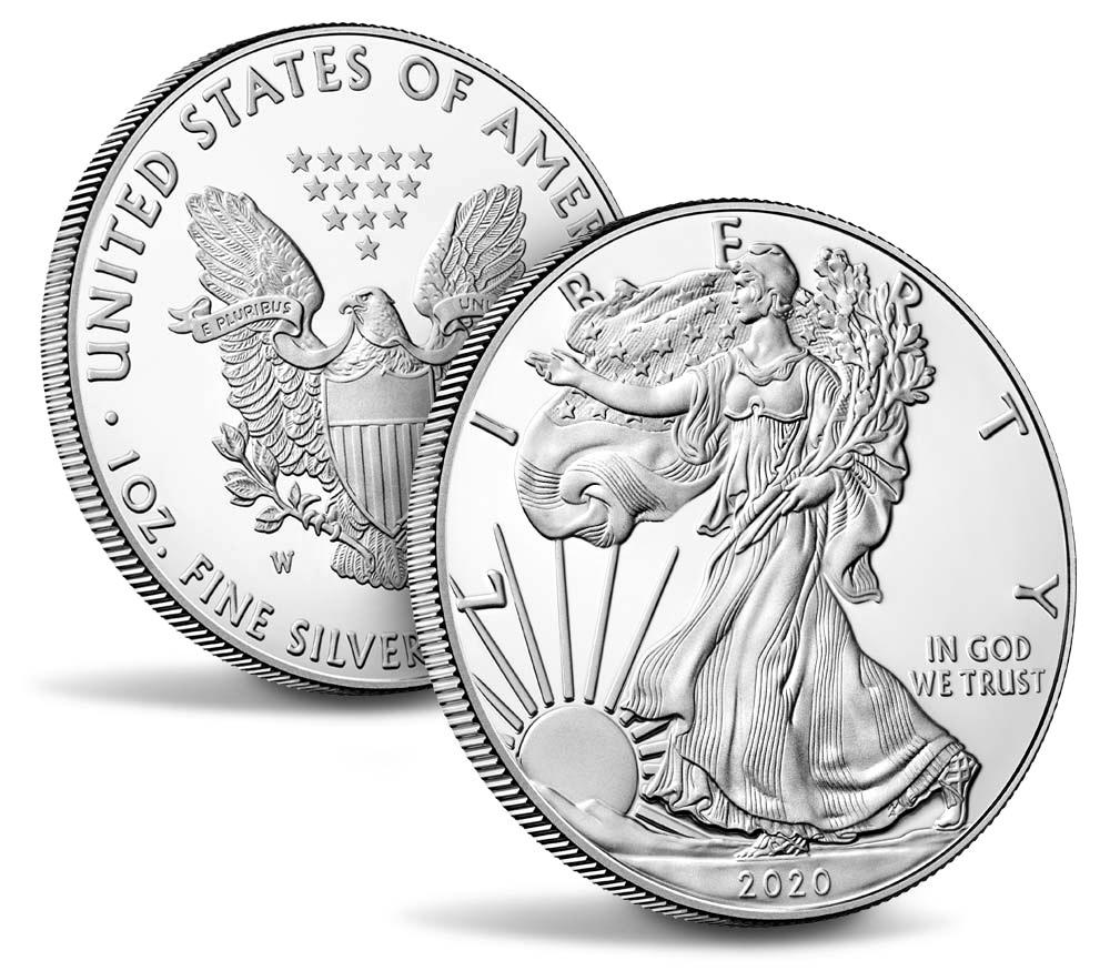 (W071.100.2020_W.1.ag.BE.bullco.1) 1 Dollar USA 2020 W 1 oz Proof silver - American eagle (zoom)