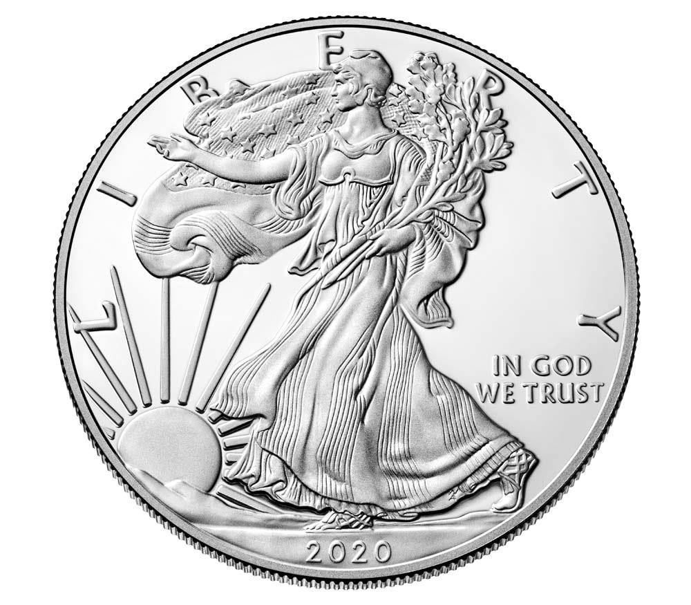 (W071.100.2020_W.1.ag.BE.bullco.1) 1 dollar USA 2020 W 1 oz Proof Ag - American eagle Obverse (zoom)