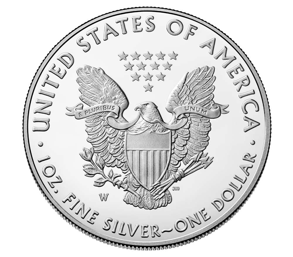 (W071.100.2020_W.1.ag.BE.bullco.1) 1 dollar USA 2020 W 1 oz Proof Ag - American eagle Reverse (zoom)