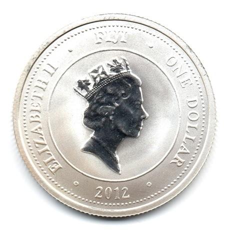 (W073.100.2012.0,5.oz.Ag.1) 1 Dollar Fidji 2012 0,5 once argent BU - Tortue Avers