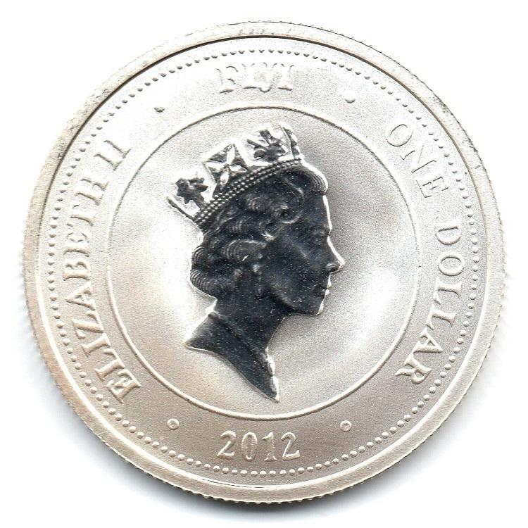 (W073.100.2012.0,5.oz.Ag.1) 1 Dollar Fiji 2012 0.5 oz BU silver - Taku Obverse (zoom)