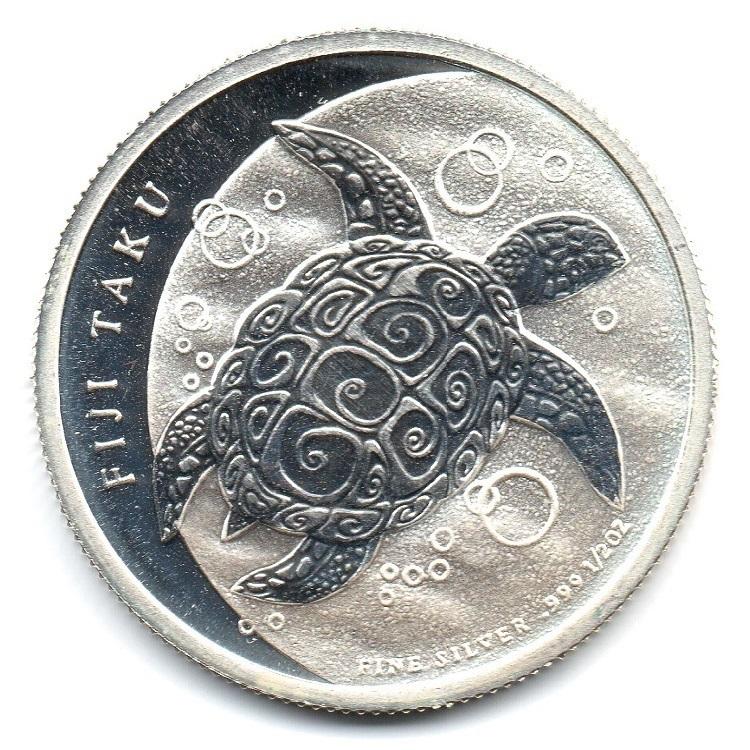 (W073.100.2012.0,5.oz.Ag.1) 1 Dollar Fiji 2012 0.5 oz BU silver - Taku Reverse (zoom)