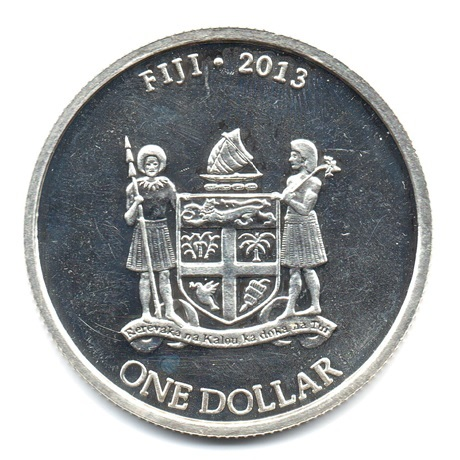 (W073.100.2013.0,5.oz.Ag.2) 1 Dollar Fidji 2013 0,5 once argent BU - Tortue Avers