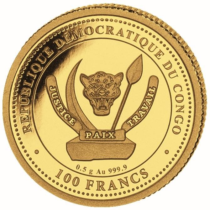 (W180.100.F.2020.0,5.g.au.1) 100 Francs Congo 2020 0.5 gram Proof gold - T-Rex Obverse (zoom)