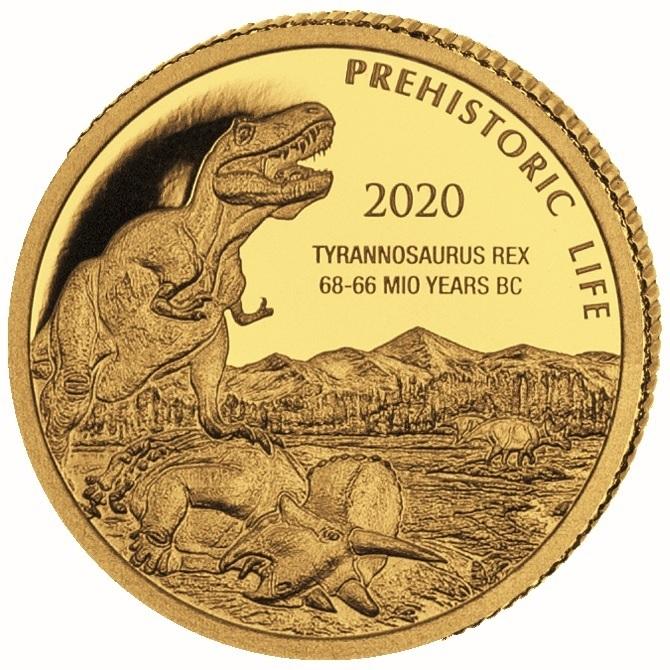 (W180.100.F.2020.0,5.g.au.1) 100 Francs Congo 2020 0.5 gram Proof gold - T-Rex Reverse (zoom)