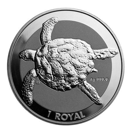 (W218.1.1.R.2020.1.oz.ag.1) 1 Royal 2020 1 once Ag BU - Tortue marine Revers