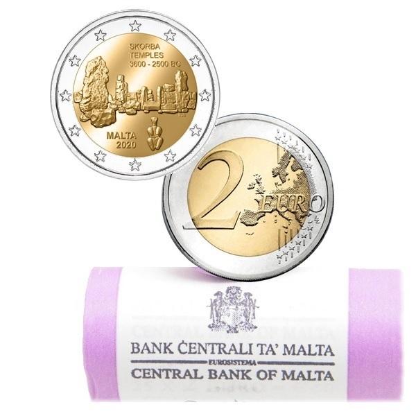 2 euro roll Malta 2020 - Skorba temples (zoom)