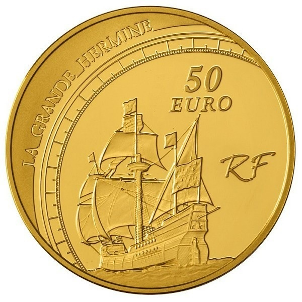 (EUR07.ComBU&BE.2011.10041268880000) 50 euro France 2011 Proof Au - Jacques Cartier Reverse (zoom)