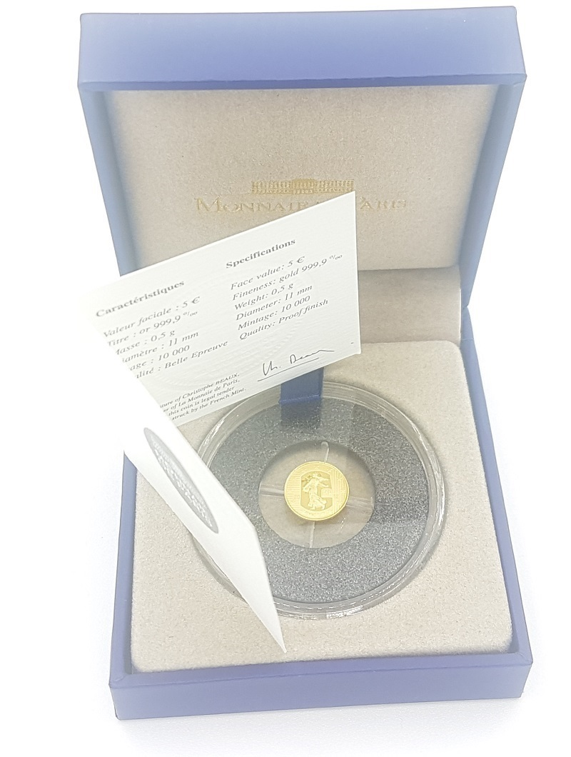 (EUR07.ComBU&BE.2012.10041274990000) 5 euro France 2012 Proof gold - Sower Obverse (zoom)