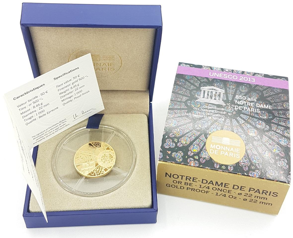 (EUR07.ComBU&BE.2013.10041281640000) 50 euro France 2013 Proof Au - Notre-Dame de Paris Obverse (zoom)