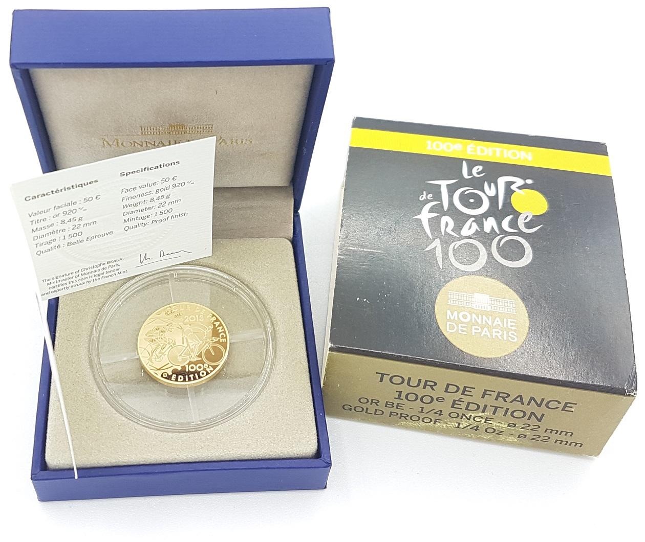 (EUR07.ComBU&BE.2013.10041281810000) 50 euro France 2013 Proof Au - Tour de France Obverse (zoom)