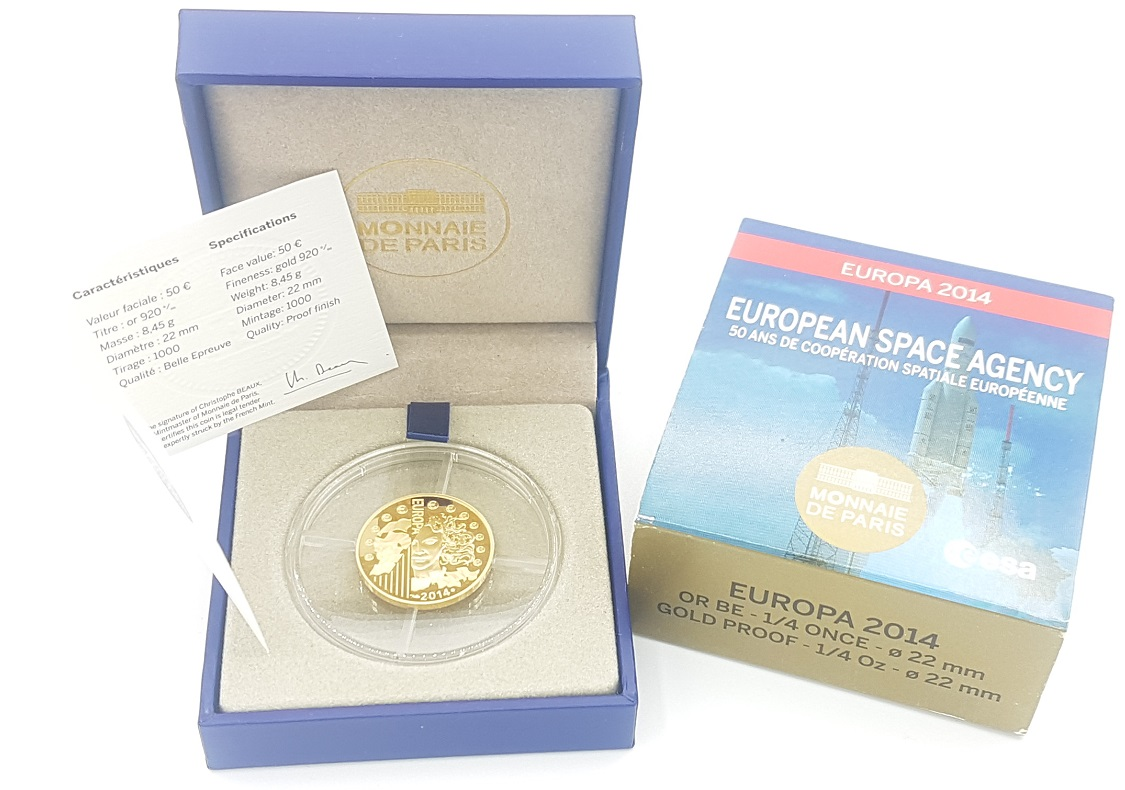 (EUR07.ComBU&BE.2014.10041286450000) 50 euro France 2014 Proof gold - Europa Obverse (zoom)