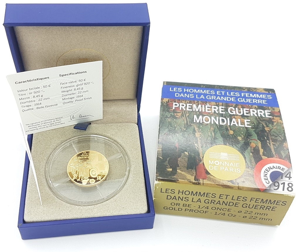 (EUR07.ComBU&BE.2014.10041286750000) 50 euro France 2014 Proof Au - First World War Obverse (zoom)