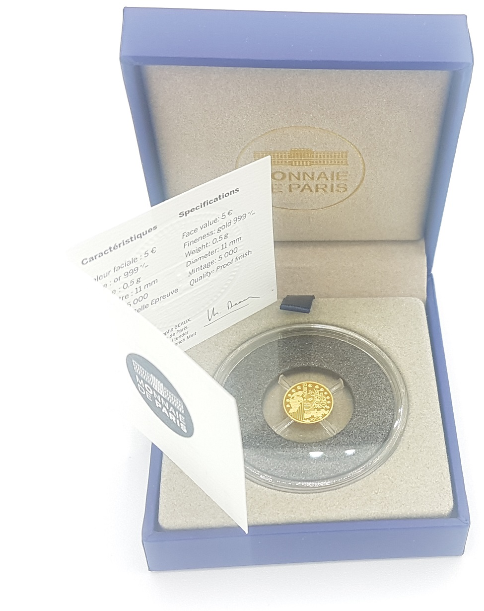 (EUR07.ComBU&BE.2015.10041292940000) 5 euro France 2015 Proof gold - Europa Obverse (zoom)