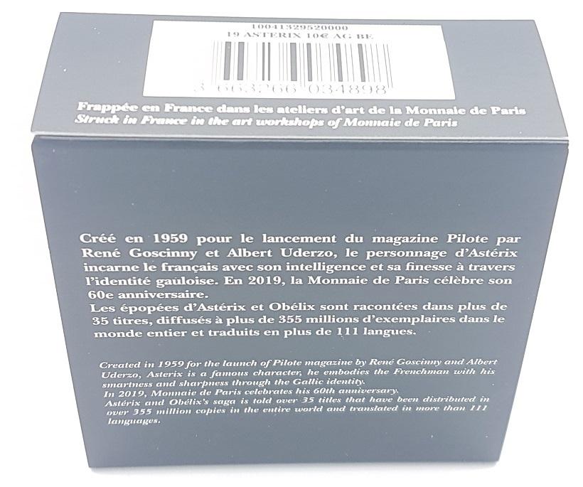 (EUR07.ComBU&BE.2019.10041329520000) 10 euro France 2019 Proof Ag - Astérix (packaging) Back (zoom)