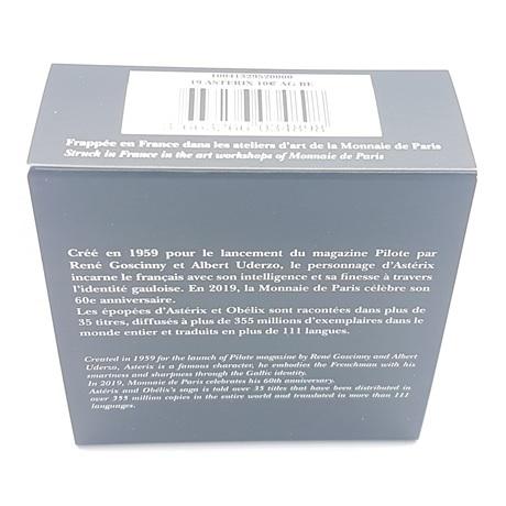 (EUR07.ComBU&BE.2019.10041329520000) 10 euro France 2019 argent BE - Astérix (carton) Verso