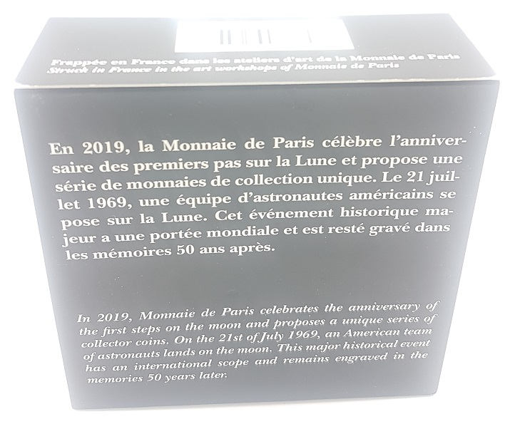 (EUR07.ComBU&BE.2019.10041337820000) 50 euro France 2019 Proof Ag - First step on the moon Back (zoom)
