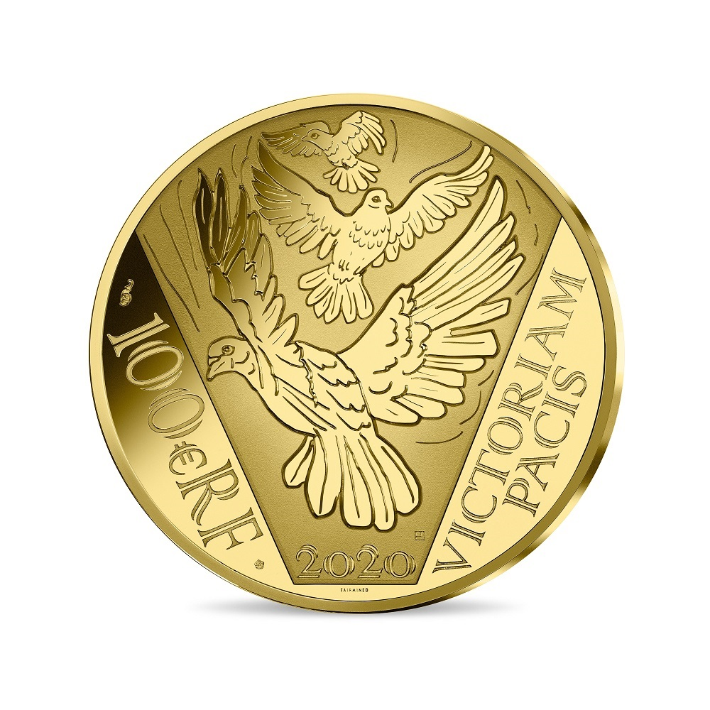(EUR07.ComBU&BE.2020.10041349440000) 100 euro France 2020 Proof gold - Peace Reverse (zoom)