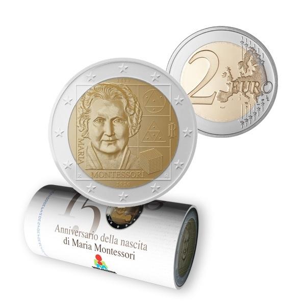 (EUR10.200.2020.roll.1.COM1) 2 euro roll Italy 2020 - Montessori (illustrated) (zoom)