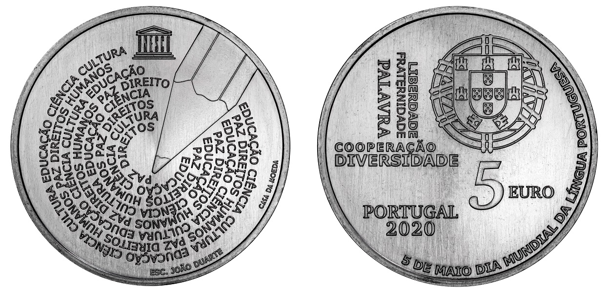 (EUR15.500.2020.12500581) 5 euro Portugal 2020 - World Portuguese Language Day (zoom)