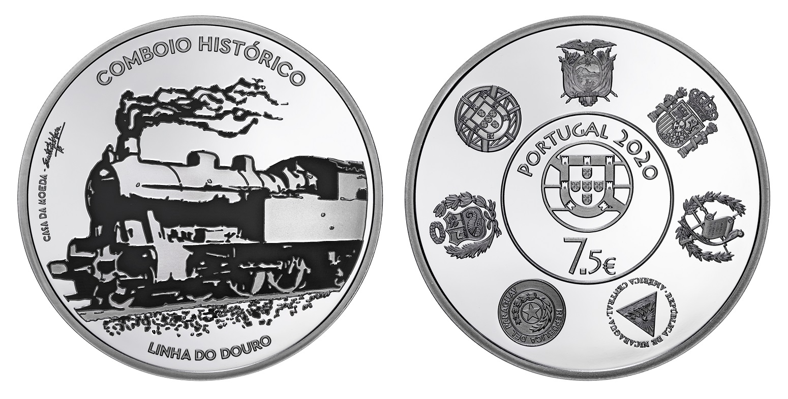 (EUR15.ComBU&BE.2020.1022792) 7.5 euro Portugal 2020 Proof silver - Historical trains (zoom)