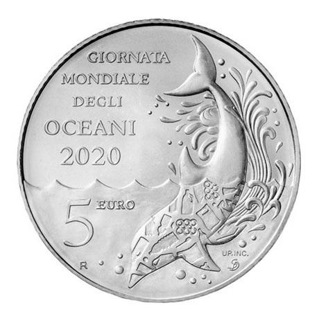 (EUR18.ComBU&BE.2020.500.BU.COM1) 5 euro Saint-Marin 2019 Ag BU - Journée mondiale des océans Revers