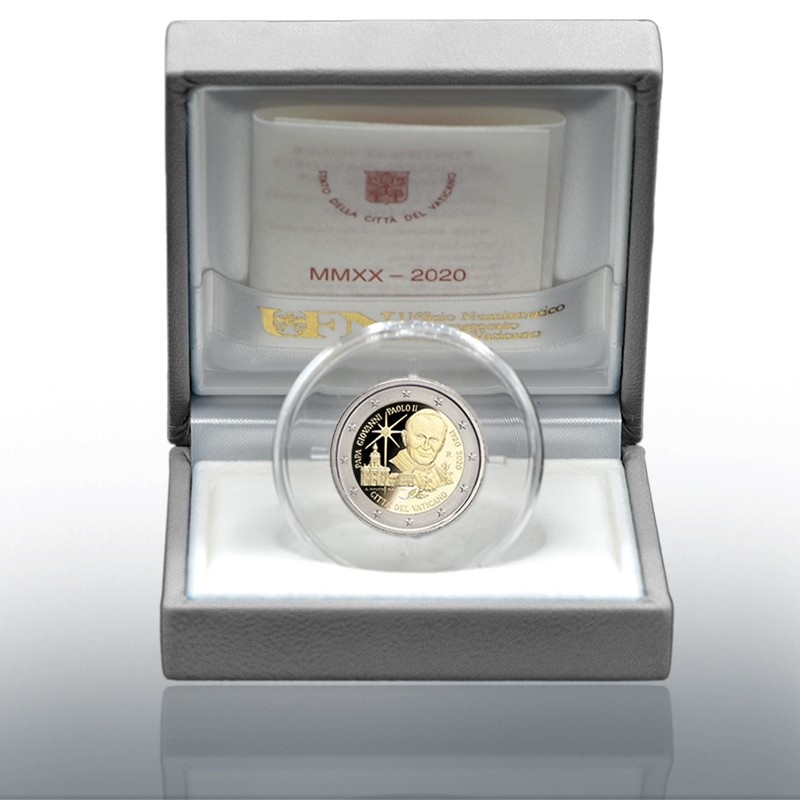 (EUR19.ComBU&BE.2020.CN1540) 2 euro Vatican 2020 Proof - Pope John Paul II (case) (zoom)