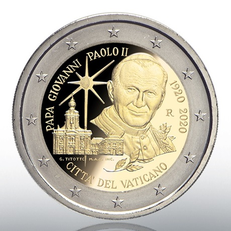 (EUR19.ComBU&BE.2020.CN1540) 2 euro commémorative Vatican 2020 BE - Jean-Paul II Avers