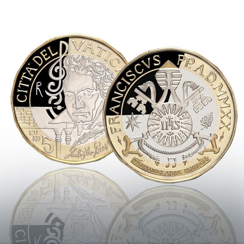 (EUR19.ComBU&BE.2020.CN1541) 5 euro Vatican 2020 Proof - Ludwig Van Beethoven (zoom)