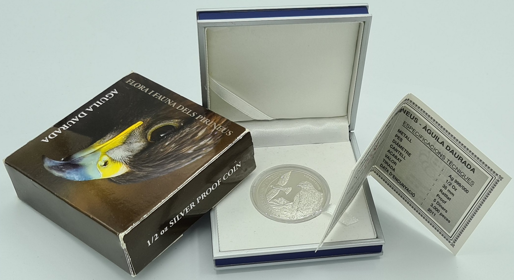 (W009.500.2012.0,50.oz.Ag.1.000000001) 5 Diners Andorra 2011 0.5 oz Proof Ag - Golden eagle (certificate) (zoom)