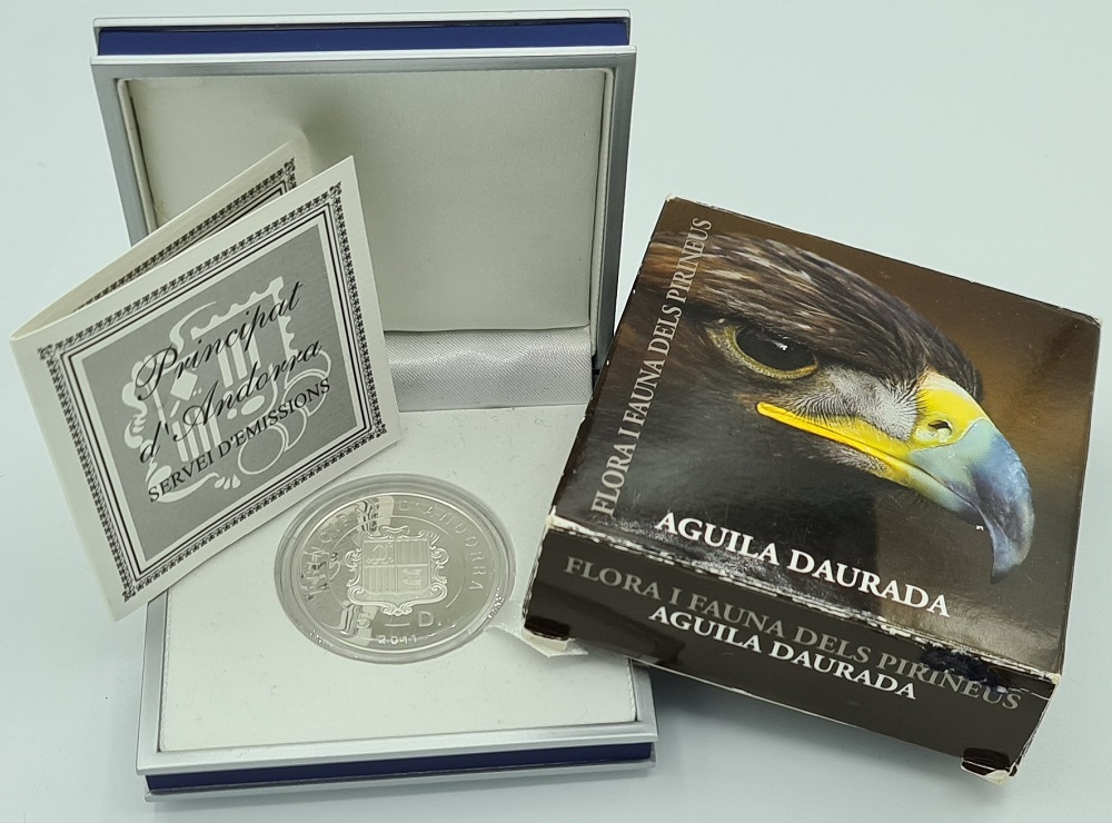 (W009.500.2012.0,50.oz.Ag.1.000000001) 5 Diners Andorra 2011 0.5 oz Proof silver - Golden eagle Obverse (zoom)
