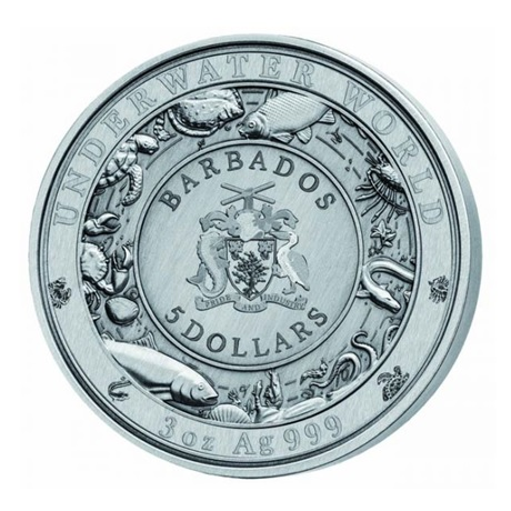 (W022.500.2019.3.oz.Ag.1) 5 Dollars Barbade 2019 3 onces argent - Crocodile Avers