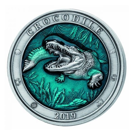 (W022.500.2019.3.oz.Ag.1) 5 Dollars Barbade 2019 3 onces argent - Crocodile Revers