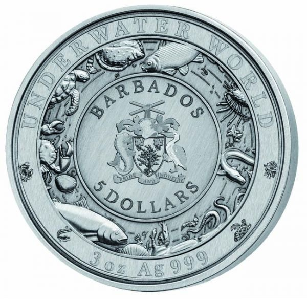 (W022.500.2019.3.oz.Ag.1) 5 Dollars Barbados 2019 3 oz silver - Crocodile Obverse (zoom)