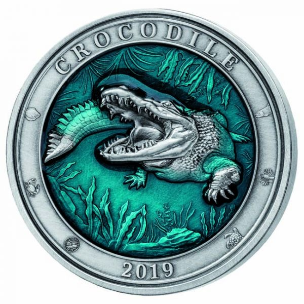 (W022.500.2019.3.oz.Ag.1) 5 Dollars Barbados 2019 3 oz silver - Crocodile Reverse (zoom)
