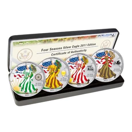 (W071.100.2011.1.oz.Ag.2) Coffret 1 Dollar Etats-Unis 2011 Ag BU - Aigle américain (quatre saisons)