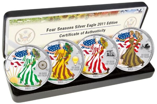 (W071.100.2011.1.oz.Ag.2) Coin set 1 Dollar USA 2011 BU Ag - American eagle (four seasons) (zoom)