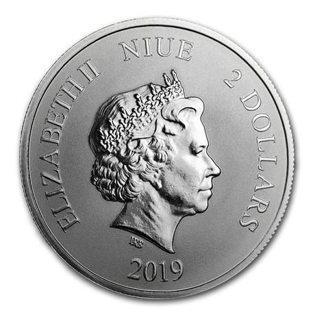 (W160.200.2019.1.oz.Ag.5) 2 Dollars Niue 2019 1 once argent BU - Tigre blanc Avers