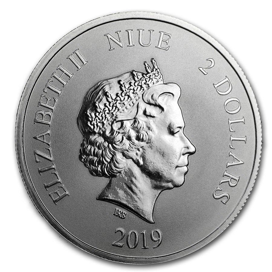 (W160.200.2019.1.oz.Ag.5) 2 Dollars Niue 2019 1 oz BU silver - White tiger Obverse (zoom)