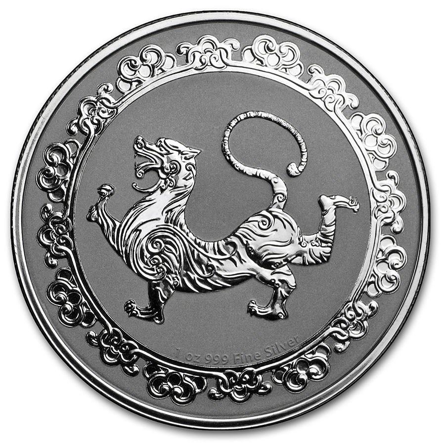 (W160.200.2019.1.oz.Ag.5) 2 Dollars Niue 2019 1 oz BU silver - White tiger Reverse (zoom)