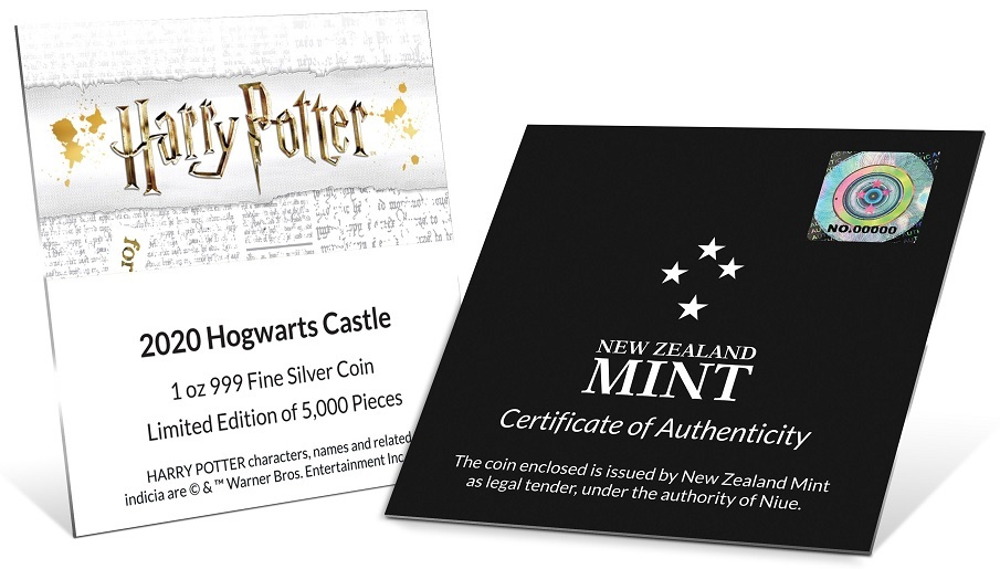 (W160.200.2020.30-00888) 2 Dollars Niue 2020 1 oz Proof Ag - Hogwarts Castle (certificate) (zoom)