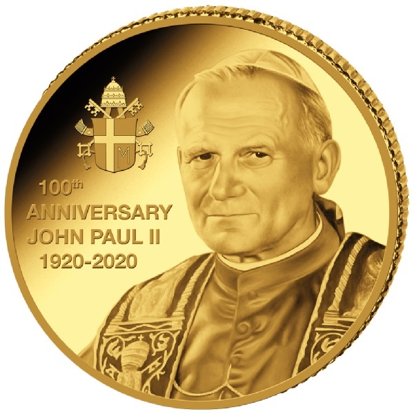 (W180.10.F.2020.0,5.g.Au.2) 10 Francs Congo 2020 0.5 gram Proof gold - Pope John Paul II Reverse (zoom)