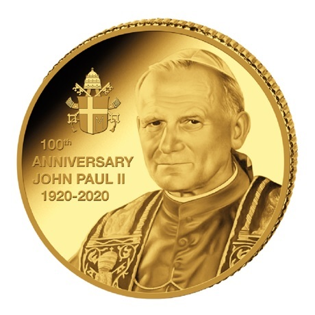 (W180.10.F.2020.0,5.g.Au.2) 10 Francs Congo 2020 0,5 gramme or BE - Jean-Paul II Revers