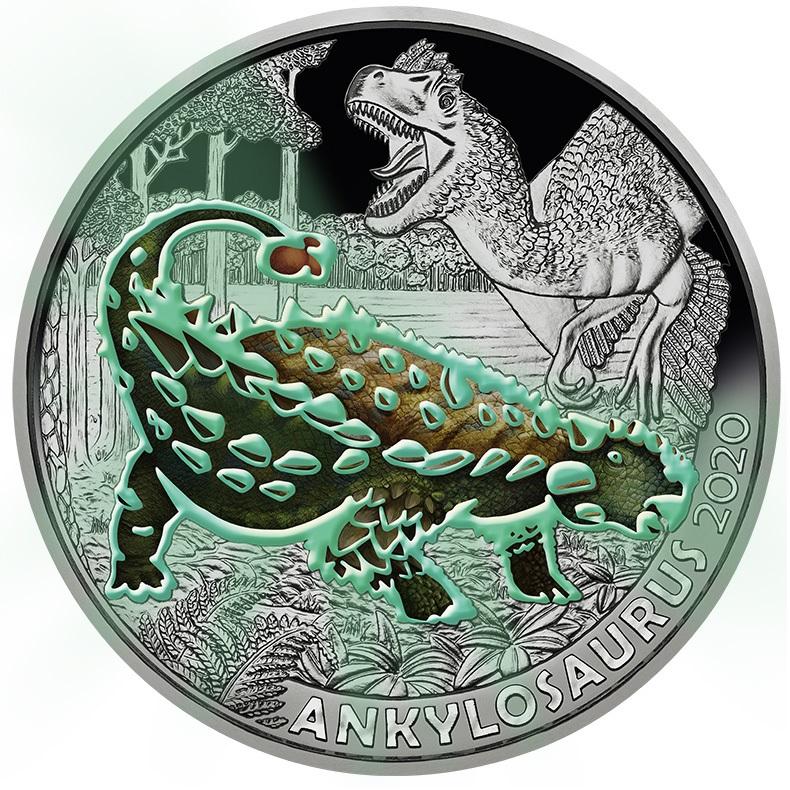(EUR01.ComBU&BE.2020.300.24596) 3 euro Austria 2020 - Ankylosaurus Reverse (glow-in-the-dark) (zoom)