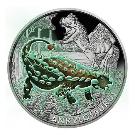 (EUR01.ComBU&BE.2020.300.24596) 3 euro Autriche 2020 - Ankylosaure Revers (brillant dans le noir)