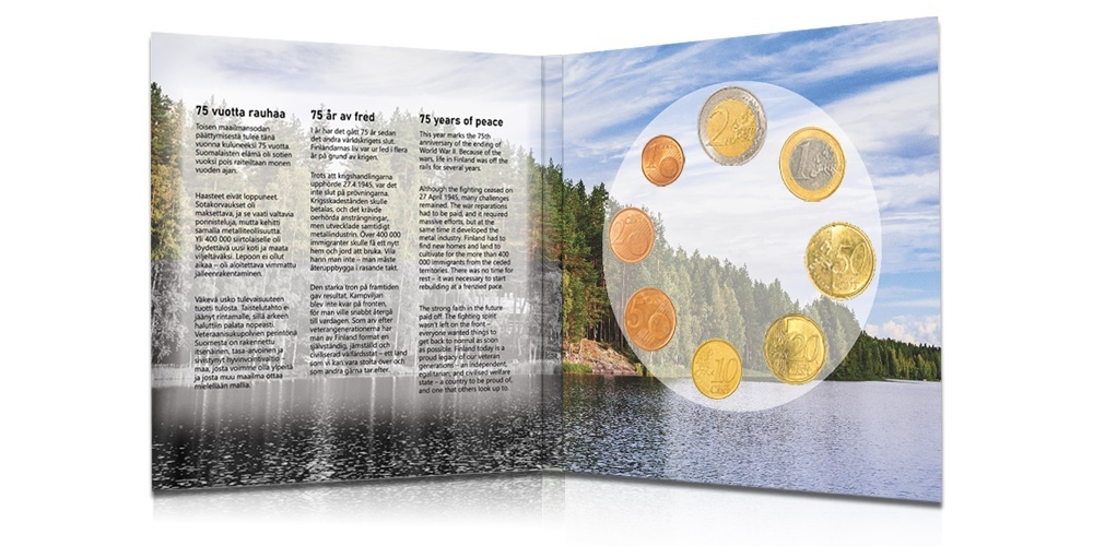 (EUR06.CofBU&FDC.2020.Cof-BU) BU coin set Finland 2020 (75 years of peace) (inside)