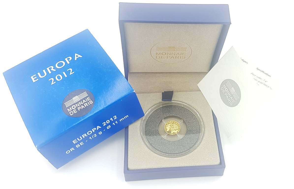 (EUR07.ComBU&BE.2012.10041275050000) 5 euro France 2012 Proof gold - Europa Obverse (zoom)